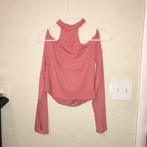 Pink off the shoulder choker top